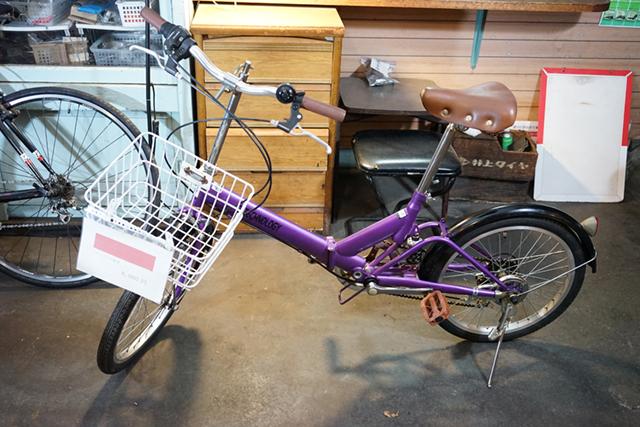 紫のリサイクル自転車
